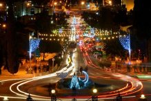 "Haifa at night during Hag HaHaggim, or ""Holiday of Holidays,"" in the winter (Courtesy photo)"
