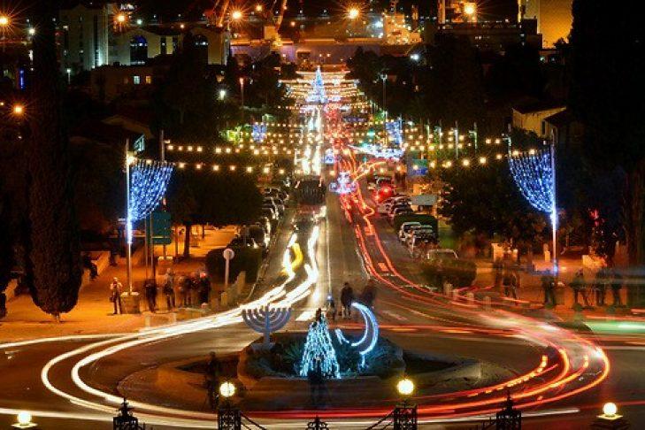 "Haifa at night during Hag HaHaggim, or ""Holiday of Holidays,"" in the winter (Courtesy photo)"