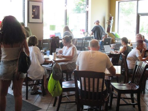 The scene at Kickstand Cafe, the go-to spot where Arlington's Jews hang out, conduct synagogue business, meet up for stroller walks and catch up on the Jewish cultural scene. (Photo: Penny Schwartz)
