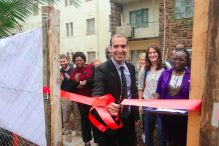 The ribbon-cutting for a new greenhouse donated by the Israeli Embassy to KEMI (Courtesy photo)
