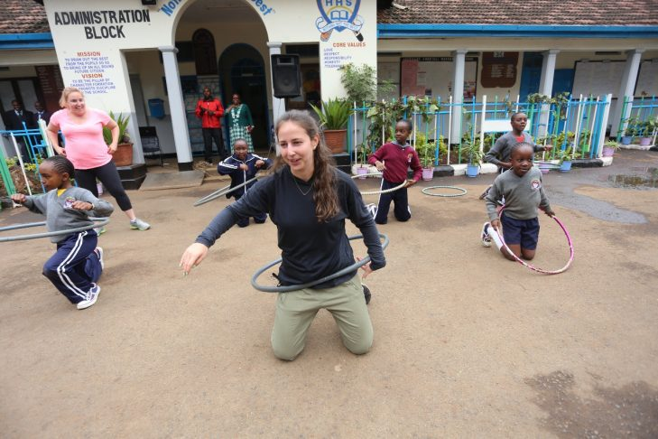 Lexi Knopf (center) shows her hula-hoop skills (Courtesy photo)
