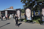 The Boston installation of 'Lest We Forget,' a Holocaust remembrance project centered on survivor photographs taken by Luigi Toscano, October 16, 2018 (Matt Lebovic/The Times of Israel)