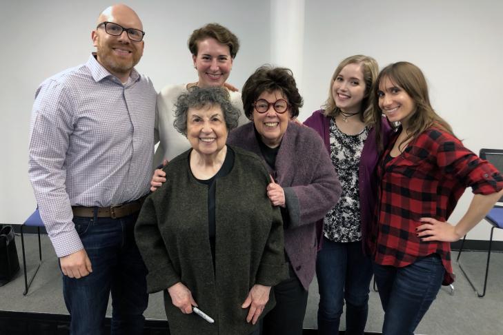 Clockwise, from left: Dan Seligson, Kali Foxman, Miriam Anzovin, Ashley Jacobs, Marilynn Brass and Sheila Brass (Photo: JewishBoston)