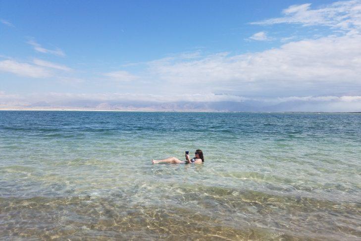 Jessie Sigler floating in the Dead Sea (Photo: Sam Shatzkin)