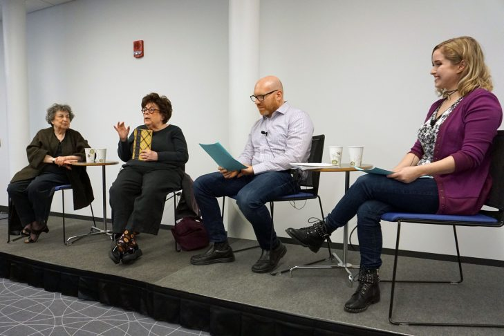 From left: Sheila Brass, Marilynn Brass, Dan Seligson and Miriam Anzovin (Photo: JewishBoston)