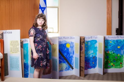 Sofia with her paintings (Courtesy photo)