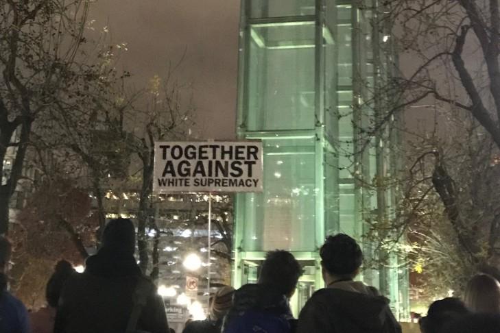 """Boston Shiva: Rally Against Anti-Semitism and White Supremacy"" at The New England Holocaust Memorial on Thursday, Nov. 1. (Photo: Mimi Arbeit)"