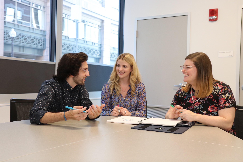 From left: Caleb Alemany, Amanda Friedman and Rachel Zylberfink (Courtesy CJP)