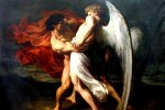 """Jacob Wrestling with the Angel"" by Alexander Louis Leloir"