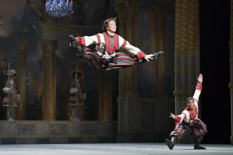 "Isaac Akiba and Lawrence Rines in Mikko Nissinen's ""The Nutcracker"" (Photo by Liza Voll, courtesy Boston Ballet)"
