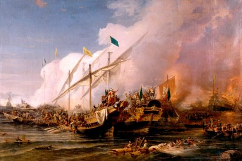 """""""Barbarossa Hayreddin Pasha defeats the Holy League of Charles V under the command of Andrea Doria at the Battle of Preveza in 1538"""" by Ohannes Umed Behzad (1866)"""