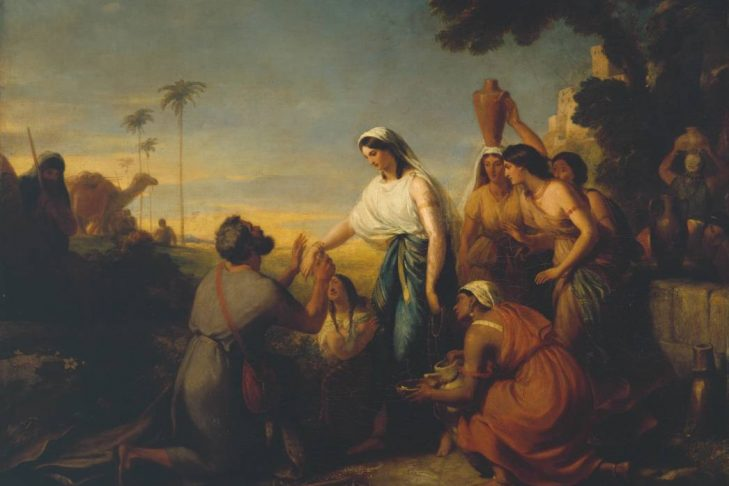 """""""Rebecca and Abraham's Servant at the Well"""" by William Hilton the Younger"""