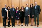 From left: Limud event co-chairs Jessica and Michael Carroll and JulieSue and Matthew Goldwasser, Limud honoree Jessica Solomon, interim head of school Bud Lichtenstein, and co-chairs Pam and David Hallagan (Courtesy photo)
