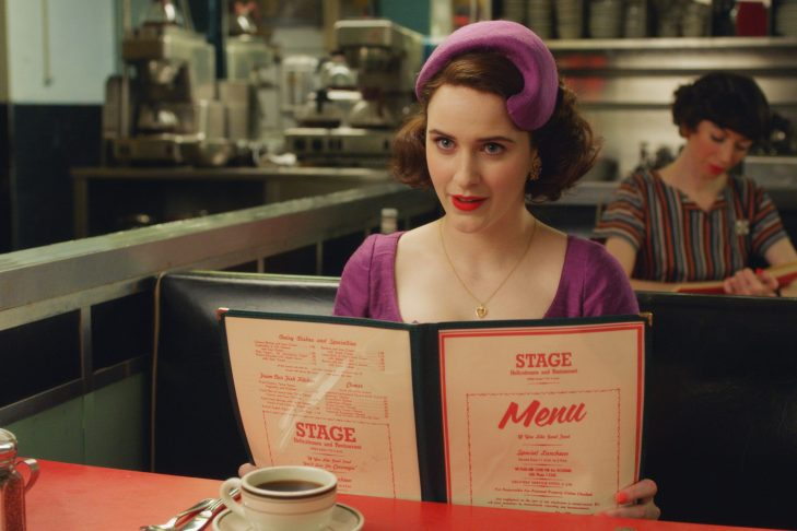 "Rachel Brosnahan as Midge Maisel in ""The Marvelous Mrs. Maisel"" (Promotional still)"