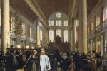 """Interior of the Portuguese synagogue in Amsterdam"" by Emanuel de Witte"