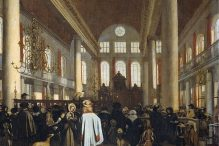 """""""Interior of the Portuguese synagogue in Amsterdam"""" by Emanuel de Witte"""