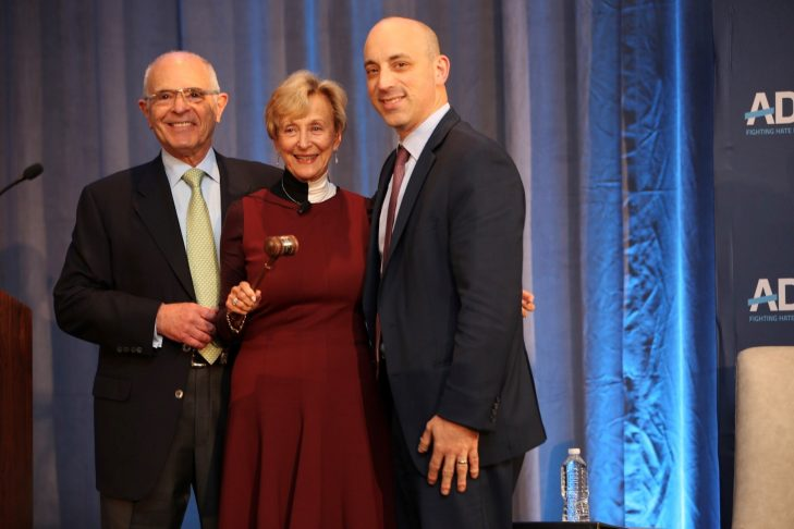 Esta Epstein with outgoing chair Marvin Nathan, left, and CEO Jonathan Greenblatt at ADL's National Commission Meeting in Houston in November 2018 (Courtesy ADL)
