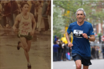 Marty running his first marathon, left, and a race last year that enabled him to qualify for the Boston Marathon (Courtesy photo)