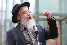 BOSTON, MA - APRIL 28:   Rabbi Alti Bukiet of the Chabad Center of Lexington speaks during a vigil for the victims of the shooting at Chabad of Poway in California at the New England Holocaust Memorial on April 28, 2019 in Boston, Massachusetts. (Staff Photo By Angela Rowlings/MediaNews Group/Boston Herald)