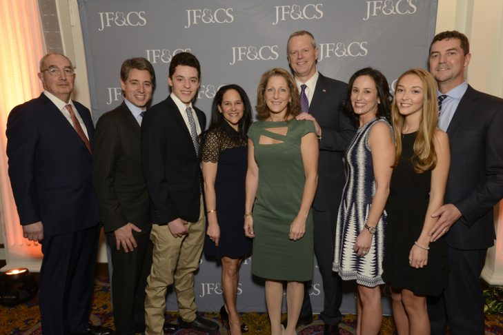 Gov. Baker and Lauren Baker with the JF&CS CEO and benefit co-chairs and their kids (Courtesy photo)