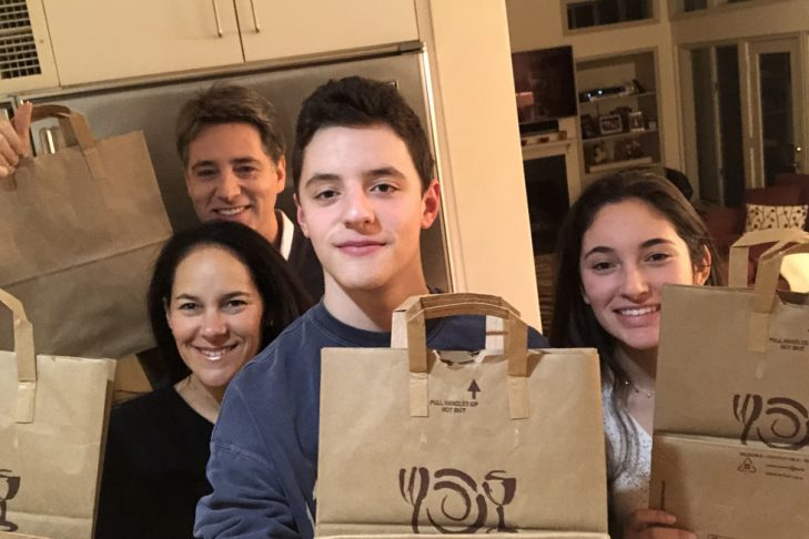 The Creem family with bags for Family Table (Courtesy photo)