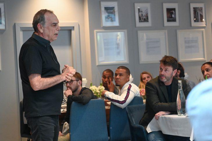 Israeli football manager Avram Grant addresses the group of New England Revolution and Chelsea participants with New England Revolution club ambassador Charlie Davies (Courtesy photo)