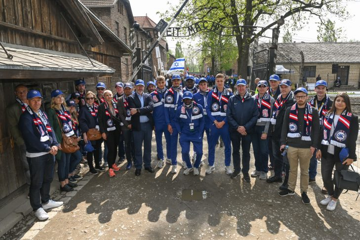Members of the New England Revolution and Chelsea FC at the March of the Living (Courtesy photo)