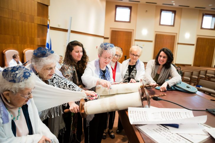 From left: Mickey Allen, Marilyn Kaplan, Giulia Fleishman, Edna Supnik, Mimi Levy, Lucille Shneider and Temple Emanuel's Rav Hazzan Aliza Berger (Photo: Ken Marcou)