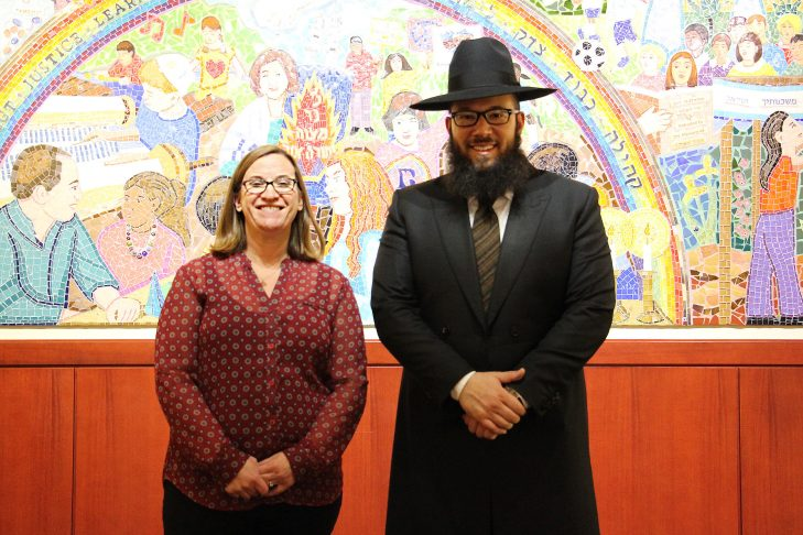 Rashi Middle School Rabbi Sharon Clevenger with Rabbi Mike Moskowitz, an ultra-Orthodox man who fully and lovingly supports his transgender child. (Courtesy The Rashi School)