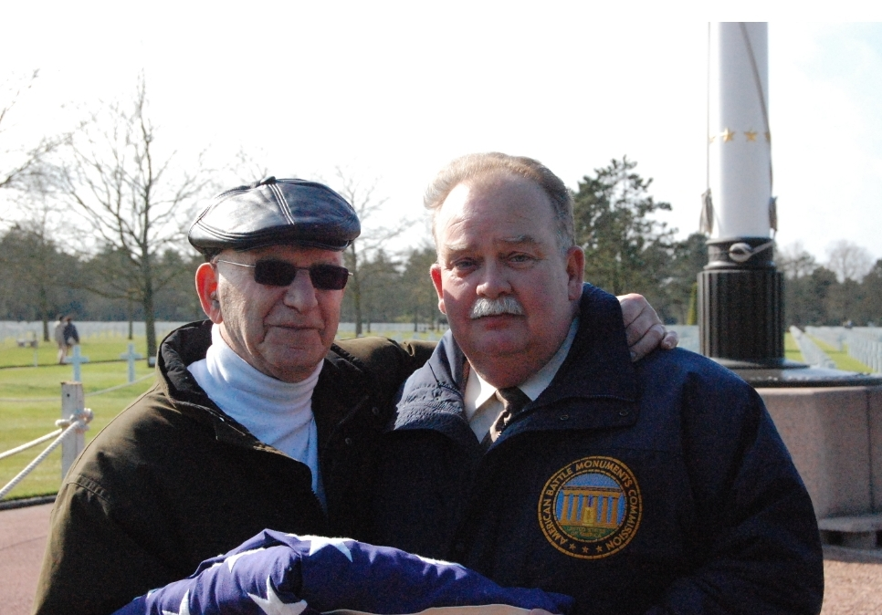 Jack Kates with Daniel Neese, superintendent of the Normandy American Cemetery and Memorial (Courtesy Susie Davidson)