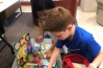 Rashi students fill school supplies backpacks (Courtesy photo)