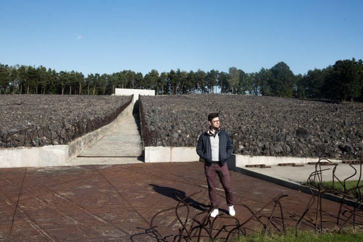Elan Kawesch at Belzec extermination camp in Poland (Courtesy photo)