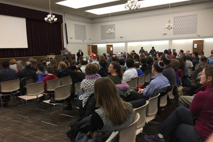 """Over 200 Lexington parents and teens attended the community screening of """"Screenagers: Growing up in the Digital Age"""" that was screened at Temple Emunah in 2017. (Courtesy photo)"""