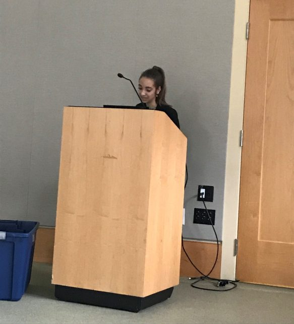 Josie presents about Syrian refugees and her project to other students (Courtesy photo)