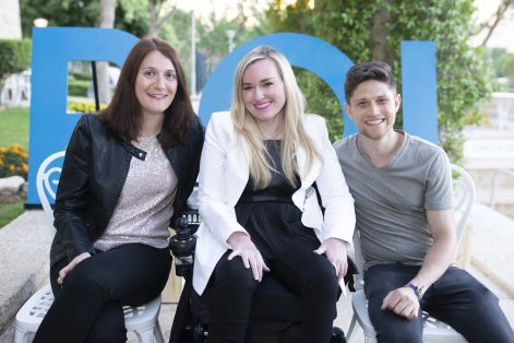 Boston-area participants in the 2019 ROI Summit in Jerusalem included, from left, Aviva Klompas, Ariella Barker and Dean Benjamin. Mishy Harman, who is not pictured, also participated. (Photo: Snir Kazir)