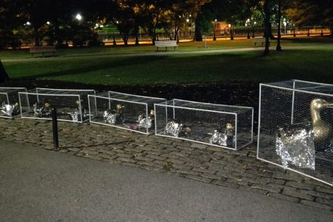 "Nancy Schön's ""Make Way for Ducklings"" sculpture in wire cages by Karyn Alzayer (Photo: Daud Alzayer)"