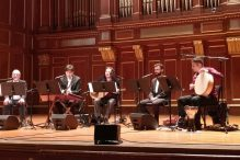 """Dunya Ensemble performs """"Jews and Sufis: Shared Musical Traditions"""" at the New England Conservatory on Thursday, Sept. 12. From left: Edwin Seroussi, director of the Jewish Music Research Centre; ethnomusicologist Joseph Alpar; Mehmet Ali Sanlikol, director of Dunya Ensemble; Ridvan Aydinli, an Istanbul-based ney (flute) player; and George Lernis, a drummer and world percussionist. (Photo: Rich Tenorio)"""