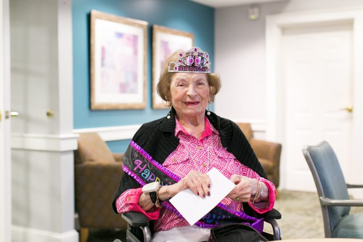 Ruth Goldstein Farber on her 100th birthday at Kaplan Estates (Courtesy photo)