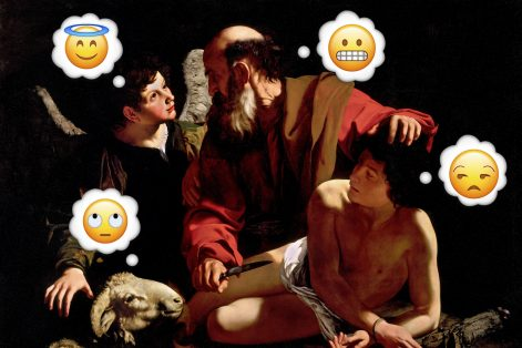"""WTF, Said Isaac"" by Miriam Anzovin (Derivative of ""Sacrifice of Isaac"" by Caravaggio/Wikimedia Commons)"
