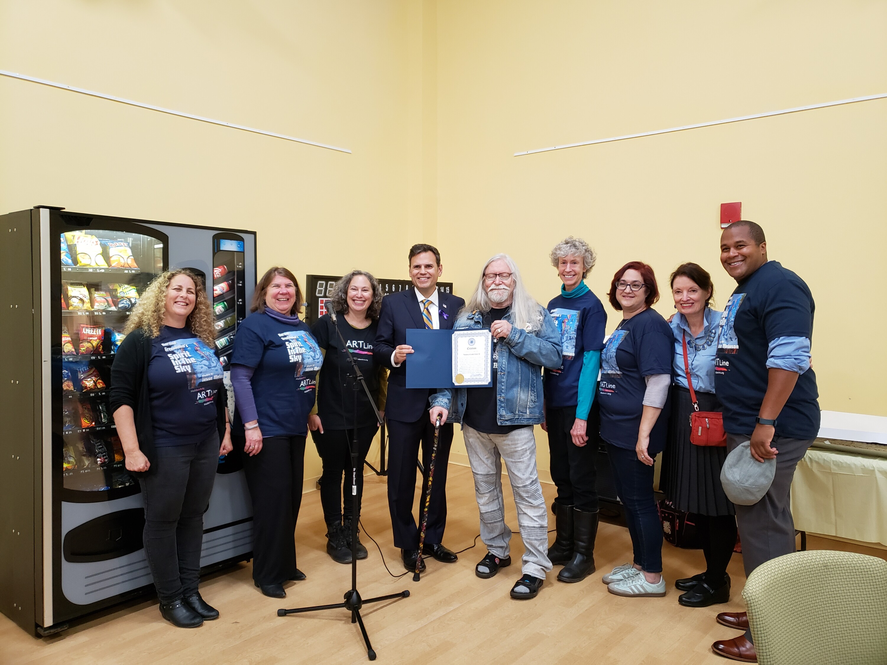 Members of Malden Arts with Mayor Gary Christenson and Norman Greenbaum (Photo: Susie Davidson)