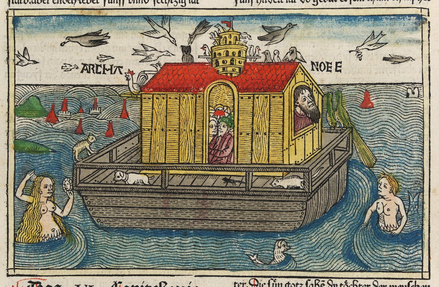 Noah's Ark woodcut (Anton Koberg's German Bible, 1483)