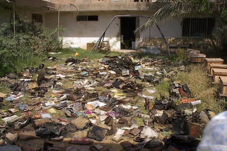 Materials drying outside the Mukhabarat, Saddam Hussein's intelligence headquarters (Courtesy National Archives)