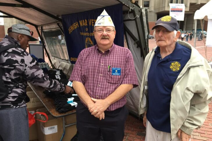 Jewish War Veterans of Massachusetts department commander Jeffrey Blonder, center, and JWV MA Post 74 (Malden) past department commander and event chair Barry Sobel participate in the 2019 Greater Boston Stand Down activity at Boston's Government Center on Sept. 6, 2019 (Courtesy JWV Massachusetts)