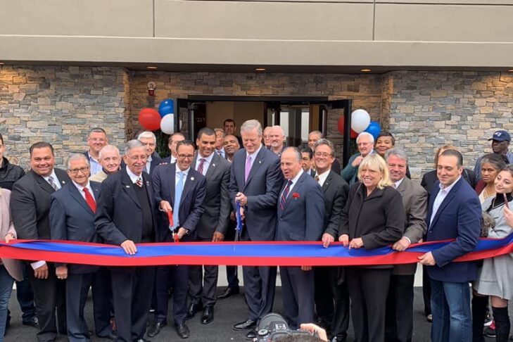 Gov. Charlie Baker at the ribbon-cutting ceremony for 30 one-bedroom housing units for veterans in Revere on Oct. 4, 2019 (Courtesy JWV Massachusetts)