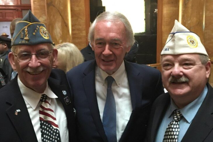 From left: Ira Novoselsky, past national commander of the Jewish War Veterans of the U.S., Sen. Ed Markey and Jeffrey Blonder, Jewish War Veterans of Massachusetts department commander, at the State House on Veterans Day 2019 (Courtesy Jeffrey Blonder)