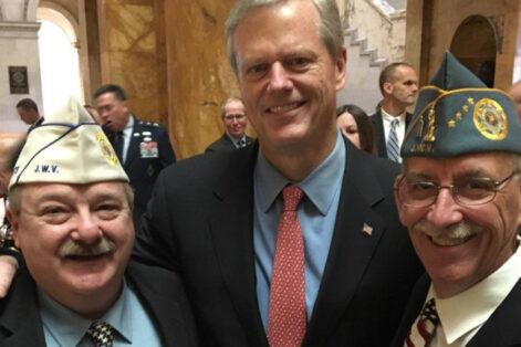 From left: Jeffrey Blonder, Jewish War Veterans of Massachusetts department commander, Gov. Charlie Baker and Ira Novoselsky, past national commander of the Jewish War Veterans of the U.S., at the State House on Veterans Day 2019 (Courtesy Jeffrey Blonder)