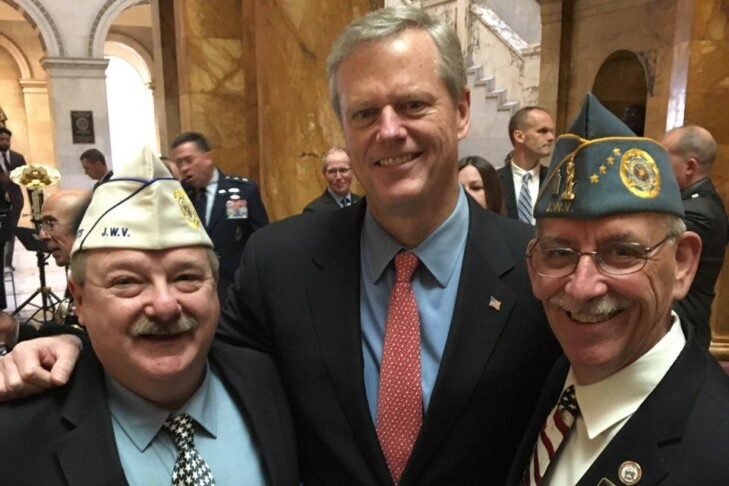 From left: Jeffrey Blonder, Jewish War Veterans of Massachusetts department commander, Gov. Charlie Baker and Ira Novoselsky, past national commander of the Jewish War Veterans of the U.S., at the State House on Veterans Day 2019 (Courtesy Jeffrey Blonder)