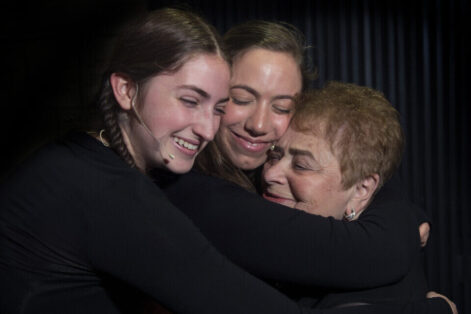 "referral use only Holocaust survivor Khana Kuperman,right, with Samantha Schabot, left, and Diana Hoffstein, center, at Witness Theater ""The Spirit of Hope"".  A dramatization of the real-life stories of Holocaust survivors as portrayed by Yeshiva of Flatbush Joel Braverman High School on Sunday April 23, 2017. Ave. J, Brooklyn (Debbie Egan-Chin/New York Daily News)"