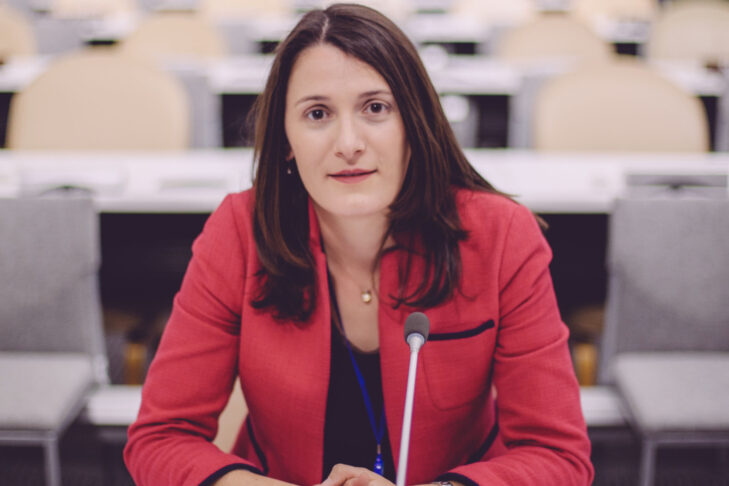 Aviva Klompas during her tenure as speechwriter for Israel's mission to the United Nations (Photo: Sara Frost)