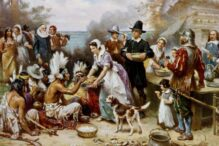 An artist's interpretation of the first Thanksgiving in Plymouth, Mass. (Photo: Wikimedia Commons)